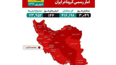 تصویر از ایران در وضعیت قرمز : سراسر استان های کشور کرونایی شدند