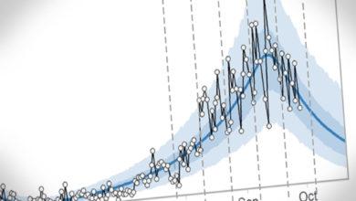 تصویر از داده های کووید19 در بریتیش کلمبیا نشان دهنده کاهش و خم شدن منحنی بیماری است