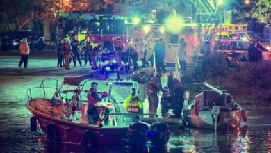 تصویر از پلیس مونترال پس از سقوط یک اتومبیل در دریاچه دو جسد از آب بیرون کشید