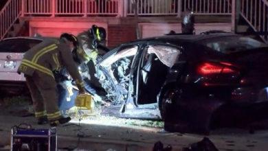 تصویر از نوجوانان سرنشین خودروی پورشه واژگون شده در تصادف تورنتو به سن قانونی نرسیده بودند