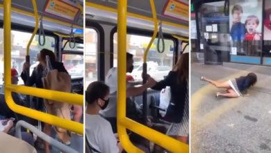 تصویر از پلیس حمل و نقل در حال تحقیق در مورد ویدئوی تف کردن زن بدون ماسک روی یک مسافر اتوبوس است