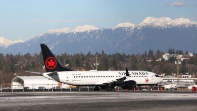 تصویر از هواپیمای بوئینگ Max 737-8 کانادا در قسمت موتور دچار مشکل شد