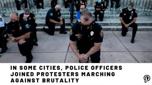 در حمایت از جنبش ضد نژادپرستی امریکا، نیروهای پلیس در برخی از شهرها به معترضین پیوستند