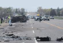 تصویر از سانحه تصادف چندین وسیله نقلیه در کالدون یک کشته و یک مجروح بر جای گذاشت