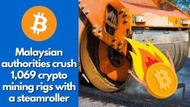 تصویر از مسئولان مالزیایی ۱،۰۶۹ دستگاه استخراج کریپتو را با غلتک جاده صاف کن خرد کردند