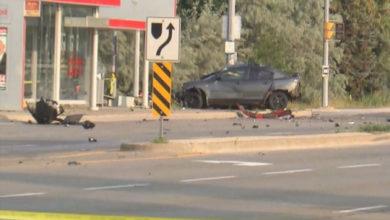 تصویر از حادثه تصادف سه خودرو در برمپتون یک کشته و دو زخمی برجای گذاشت