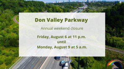 بزرگراه دان ولی پارک وی ، آخر این هفته برای انجام تعمیرات سالیانه بسته خواهد شد