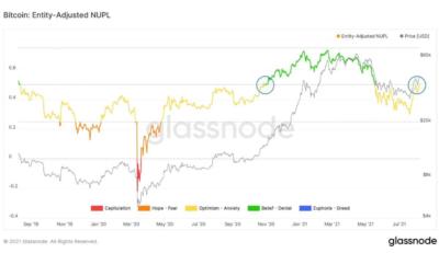 Bitcoin entry-adjusted NUPL. Source: Glassnode