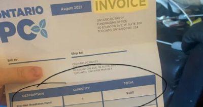 حزب محافظهکار پیشرو انتاریو پس از ارسال صورتحساب جعلی برای تأمین کمکهای مالی به کمپین انتخاباتی عذرخواهی کرد