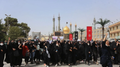 تصویر از تجمع زنان افغان علیه طالبان در قم: امارت اسلامی نمی خواهیم