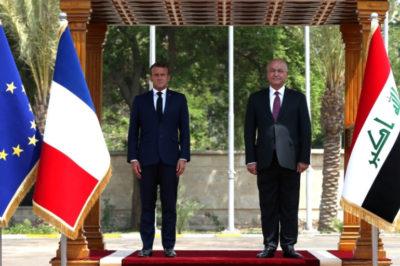 رئیس جمهور فرانسه پس از انفجار فرودگاه کابل بدلیل ترس از داعش در نشست بغداد شرکت کرد
