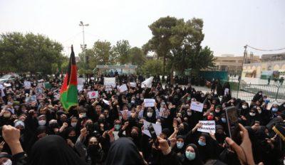 تجمع زنان افغان علیه طالبان در قم: امارت اسلامی نمی خواهیم