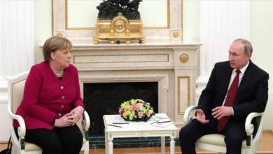 تصویر از رئیس جمهور روسیه و صدراعظم آلمان درباره وضعیت افغانستان و توافق هستهای ایران گفتگو کردند