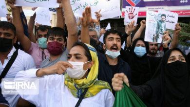 تصویر از تجمع اعتراضی افغانستانی های مقیم تهران مقابل سفارت پاکستان