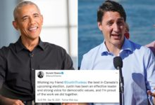 تصویر از باراک اوباما از «دوست» خود جاستین ترودو در انتخابات کانادا حمایت میکند