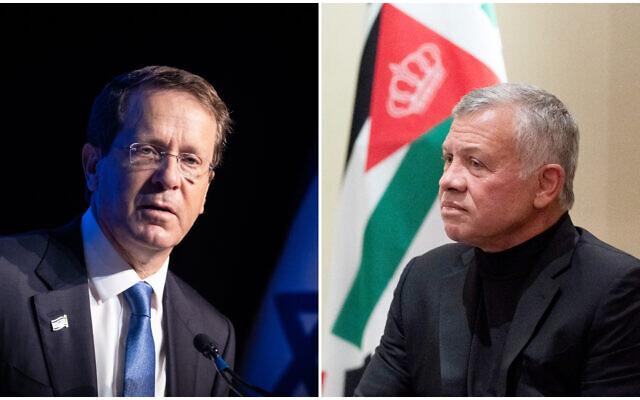 رئیسجمهور جدید اسرائیل و پادشاه اردن بصورت محرمانه دیدار کردند